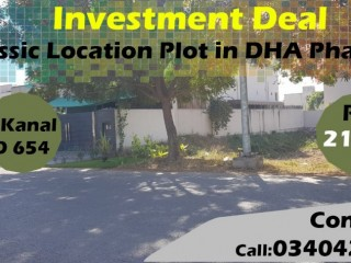 INVESTMENT Deal - 1 Kanal Classic Location Plot in DHA Phase 6 Lahore