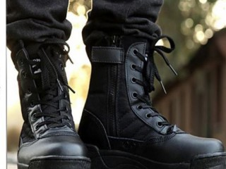 Black Leather Delta Boots For Men