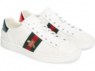 Gucci New White Ambroidered Low Top White Sneaker Shoes Unisex