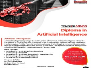 Most Demanding Diploma in Artificial Intelligence (AI) 2020 Live Online Classes